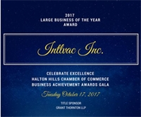 Intlvac Named Halton Hills Chamber of Commerce Large Business of the Year